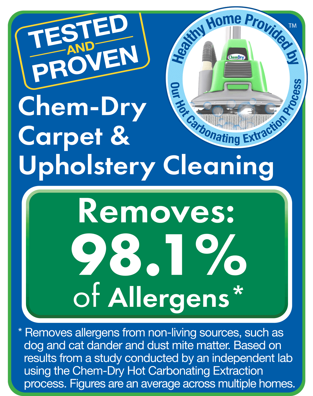 Chem-Dry removes allergens and bacteria from carpets and furniture in San Diego