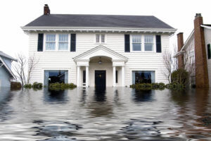 flooded house suffering from water damage